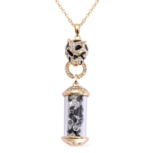 Black and White Austrian Crystal Enameled Leopard Face with kaleidoscope Pendant With Chain (Size 26) in Gold Tone