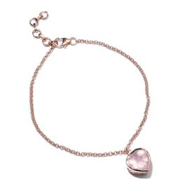 Rose Quartz (Hrt) Bracelet (Size 7.5 with 1 inch Extender) in Rose Gold Overlay Sterling Silver 3.250 Ct.
