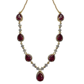 Limited Available-AAA African Ruby (Pear), Natural Cambodian Zircon Necklace (Size 18) in 14K Gold Overlay Sterling Silver 17.000 Ct. Silver Wt 15.00 Gms