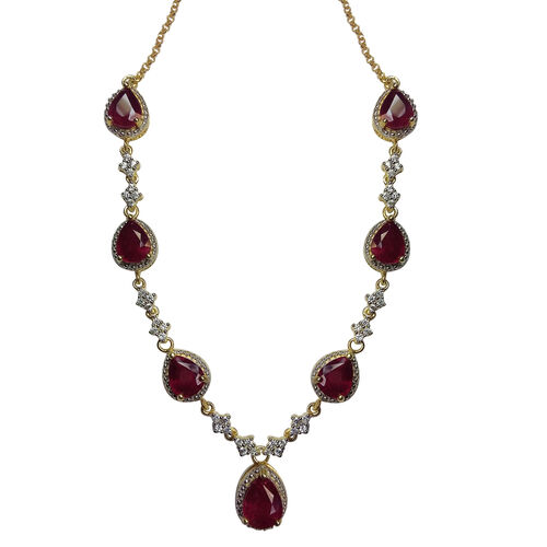 AAA African Ruby (Pear), Natural Cambodian Zircon Necklace (Size 18) in 14K Gold Overlay Sterling Silver 17.000 Ct. Silver Wt 15.00 Gms