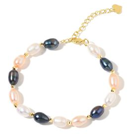 Fresh Water Multi Colour Pearl Bracelet (Size 7.5 with 1.5 inch Extender) in Yellow Gold Tone
