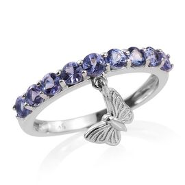 9K White Gold 1 Carat Tanzanite Half Eternity Ring with Butterfly Charm.