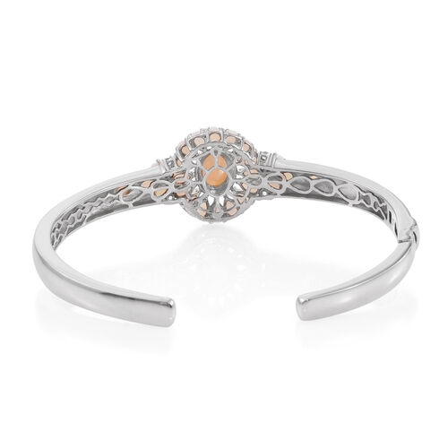 Australian Coober Pedy (Ovl 1.00 Ct), White Topaz Floral Bangle (Size 7.5) in Platinum Overlay Sterling Silver 4.500 Ct.