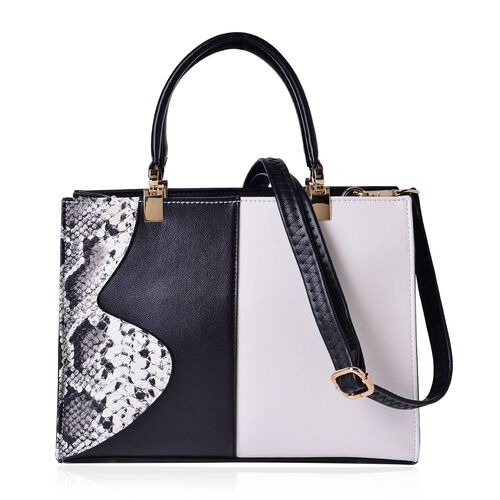 MANHATTAN COLLECTION Greenwich Snake Pattern Tote Bag with External Zipper Pocket and Adjustable, Removable Shoulder Strap (Size 29x22x12 Cm)