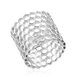 Platinum Overlay Sterling Silver Honey Comb Band Ring, Silver wt 6.00 Gms.
