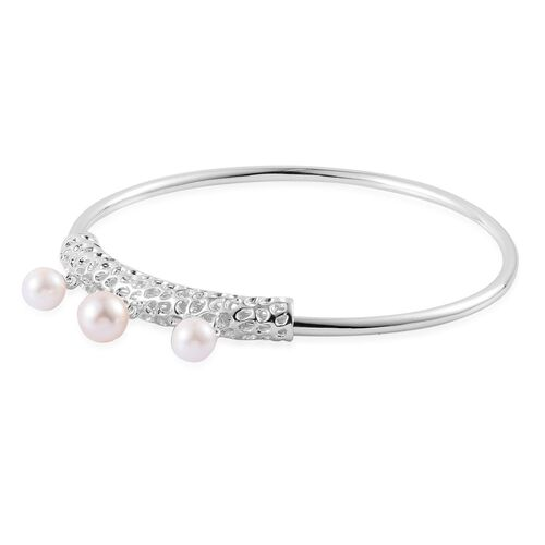 RACHEL GALLEY Japanese Akoya Pearl (Rnd) Bangle (Size 8) in Sterling Silver