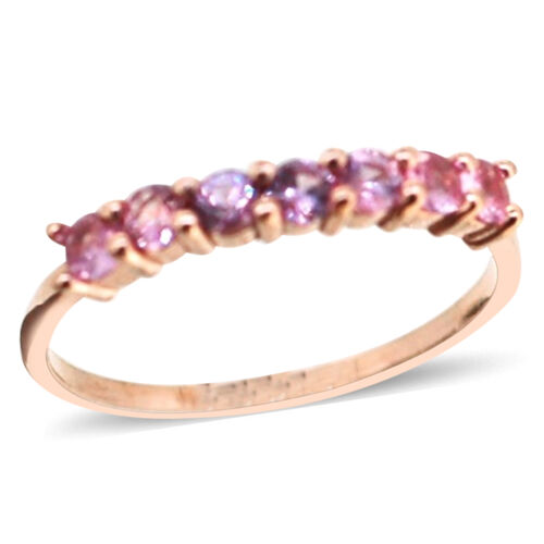 Pink Sapphire (Rnd) 7 Stone Ring in 14K Rose Gold Overlay Sterling Silver 1.000 Ct.