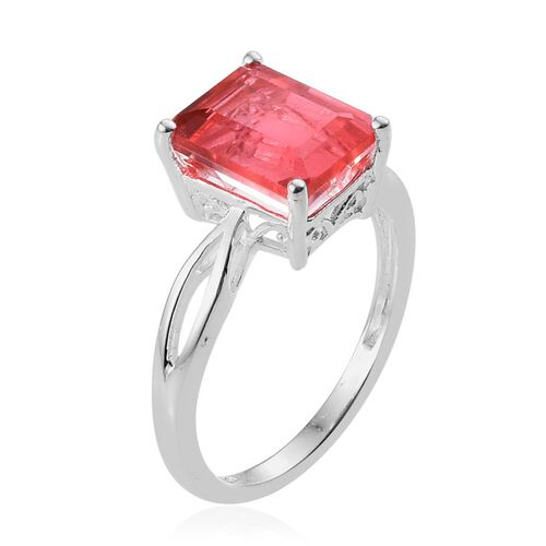 Padparadscha Quartz (Oct) Solitaire Ring in Sterling Silver 3.750 Ct.