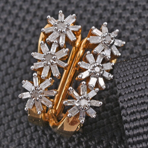 Diamond (Rnd) Floral Earrings in 14K Gold Overlay Sterling Silver 0.500 Ct.