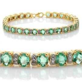 Close Out Deal Boyaca Colombian Emerald (Ovl), Diamond Bracelet in 14K Gold Overlay Sterling Silver (Size 7.5) 9.510 Ct.