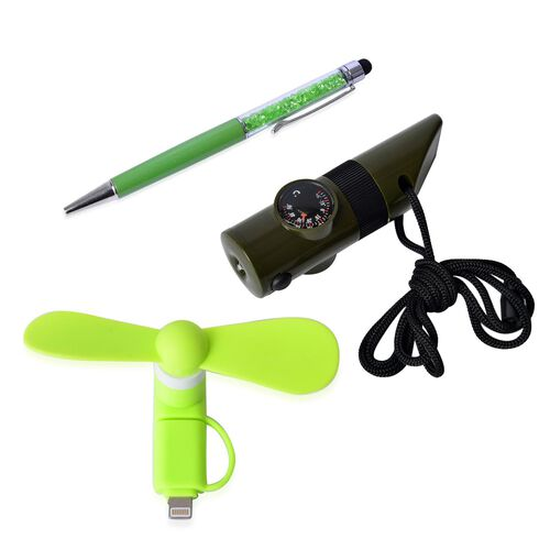Set of 3 - Simulated Peridot Filled Pen (Black Ink), Green Colour Multi Functional Whistle and Green Colour Mobile Fan