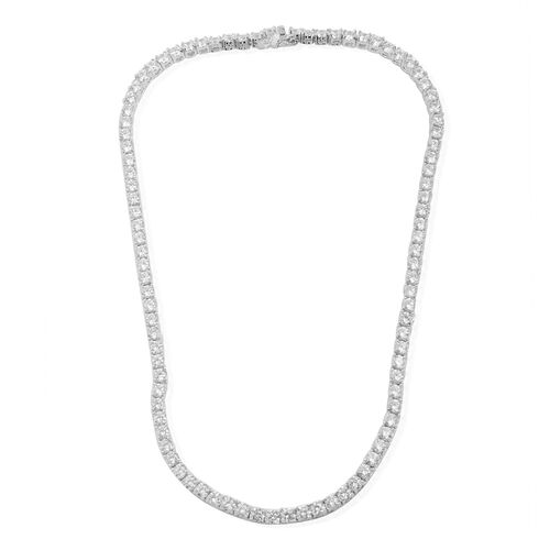 Close Out Deal Simulated Diamond (Rnd) Necklace (Size 17) in Silver Bond