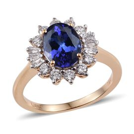 ILIANA 18K Yellow Gold 2.5 Carat AAA Tanzanite Oval Halo Ring, Diamond SI G-H.