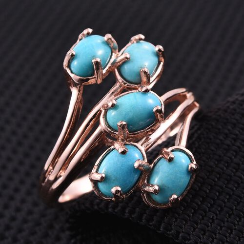 Kingman Turquoise (Ovl) 5 Stone Crossover Ring in Rose Gold Overlay Sterling Silver 2.000 Ct.