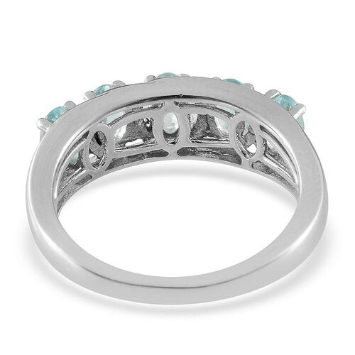 AA Paraibe Apatite (Ovl) 5 Stone Ring in Platinum Overlay Sterling Silver 1.150 Ct.