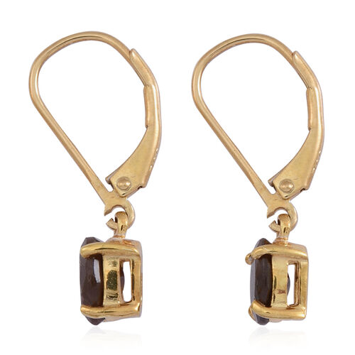 Chocolate Sapphire (Ovl) Lever Back Earrings in 14K Gold Overlay Sterling Silver 2.500 Ct.
