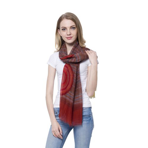 Red, Blue and Multi Colour Helicoid Pattern Dark Brown Colour Scarf (Size 170x85 Cm)