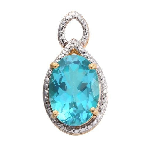 Limited Available-Signity Paraiba Topaz (Ovl) Solitaire Pendant in 14K Gold Overlay Sterling Silver 6.750 Ct.