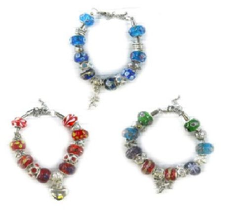Mega Deal Silver Tone Blue Glass Green Glass and Red Glass Charm 3 Pcs Bracelet Set  (Size 7.50)