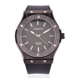 BASELWORLD Inspired - STRADA Japanese Movement Black Dial Watch in Black Tone bazel with Black Silicone Strap
