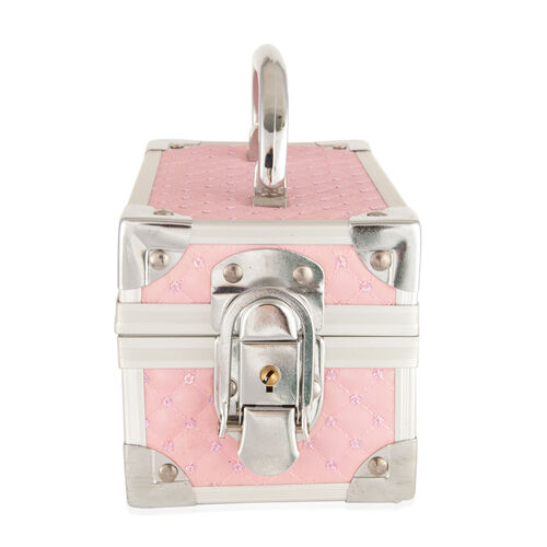 Pink Colour Jewellery Box in Silver Tone with Mirror Inside (Size 15x10x9 Cm)