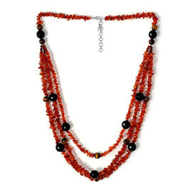 Carnelian, Black Onyx, Tigers Eye and Red Agate Necklace (Size 30) in Sterling Silver 468.300 Ct.