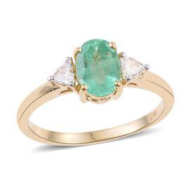 14K Y Gold Boyaca Colombian Emerald (Ovl 1.05 Ct), Diamond (I 1/G-H) Ring 1.250 Ct.