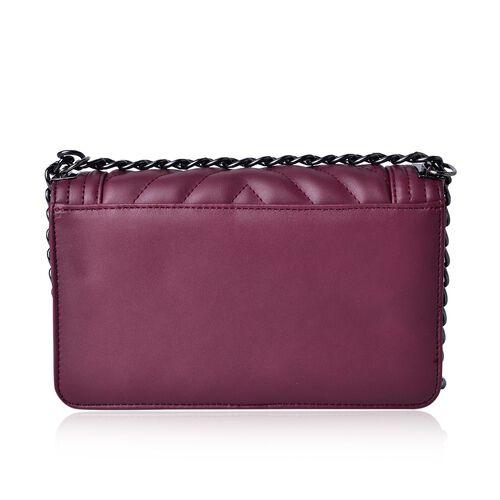 Burgundy Colour Crossbody Bag with Shoulder Strap (Size 24.5x14x7 Cm)