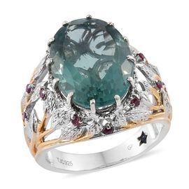 GP Mint Green Fluorite (Ovl 10.50 Ct), Rhodolite Garnet and Kanchanaburi Blue Sapphire Ring in Yellow Gold and Platinum Overlay Sterling Silver 11.030 Ct.