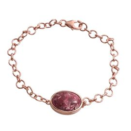 Norwegian Thulite (Ovl) Bracelet (Size 7.5) in Rose Gold Overlay Sterling Silver 11.000 Ct.