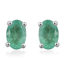 14K White Gold 0.90 Carat Boyaca Colombian Emerald Oval Solitaire Stud Earrings.
