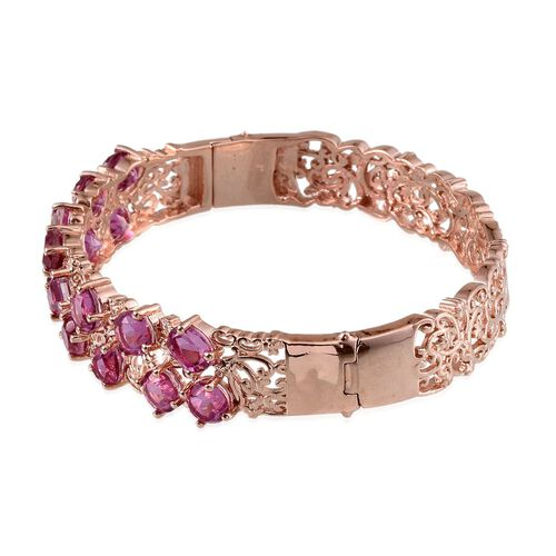 Kunzite Colour Quartz (Rnd) Bangle (Size 7.5) in Rose Gold Overlay Sterling Silver 15.250 Ct.
