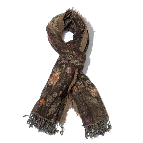 Designer Inspired 100% Wool Embroidered Floral and Paisley Pattern Chocolate Colour Scarf (Size 70x180 Cm)
