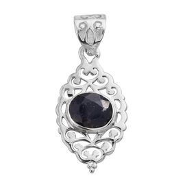 Enhanced Blue Sapphire (Ovl) Solitaire Pendant in Sterling Silver 3.000 Ct.