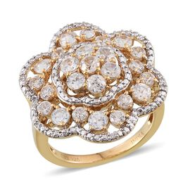 Natural Cambodian Zircon (Rnd) Floral Ring in 14K Gold Overlay Sterling Silver 3.500 Ct.
