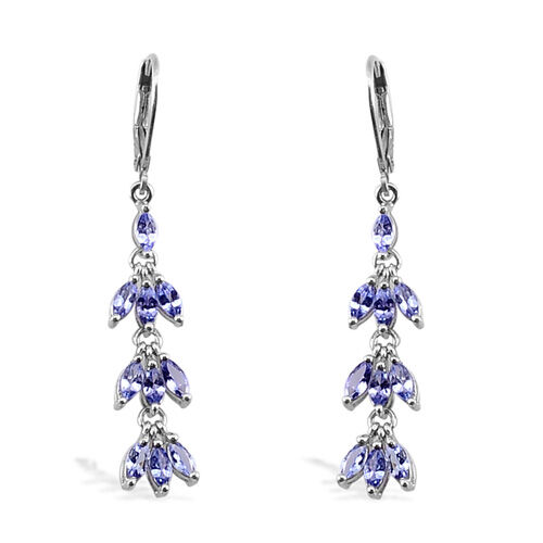 Tanzanite (2.50 Ct) Platinum Overlay Sterling Silver Lever Back Earring