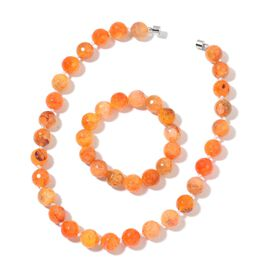 Very Rare Size Orange Agate Necklace (Size 18) and Stretchable Bracelet (Size 6 to 8.5) in Silver Tone 780.000 Ct.