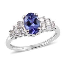 9K W Gold AA Tanzanite (Ovl 0.85 Ct), Diamond Ring 1.000 Ct.
