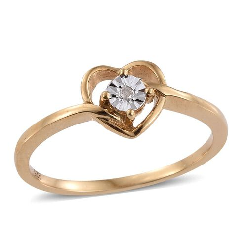 Diamond (Rnd) Promise Heart Ring in 14K Gold Overlay Sterling Silver