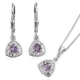 Rose De France Amethyst (Trl), Diamond Pendant With Chain and Lever Back Earring in Platinum Overlay Sterling Silver 0.780 Ct.