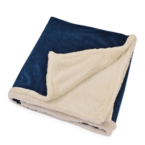 Superfine Microfibre Flannel reversible Sherpa Blanket Navy Blue and Cream Colour (Size 200x150 Cm)