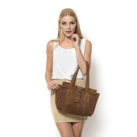 Genuine Leather Dark Chocolate Colour Handbag with Flap Buckle Closure (Size 33x24 Cm)
