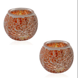 Set of 2 - Handmade Orange Colour Mosaic Glass Candle Holder