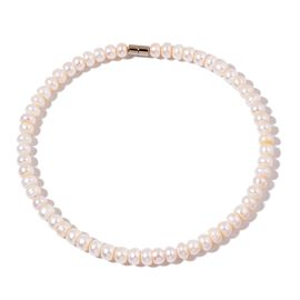 Fresh Water White Pearl (9-10 mm) Necklace (Size 17) with Magnetic Clasp in Silver Tone