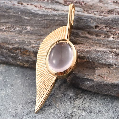Rose Quartz (Ovl) Leaf Pendant in 14K Gold Overlay Sterling Silver 3.250 Ct.