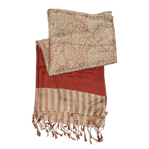 Super fine Silk Blend - Paisley and Floral Pattern Red and Chocolate Colour Scarf (Size 210x80 Cm)