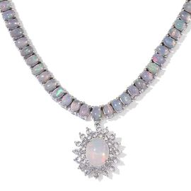 Ethiopian Welo Opal (Ovl 1.50 Ct), White Topaz Necklace (Size 18) in Platinum Overlay Sterling Silver 15.250 Ct.