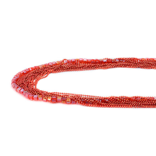 Handmade 19 Strand, Multi layer Diamond Cut Red Beaded Chain and Cubical Glass Statement Necklace with Extender.