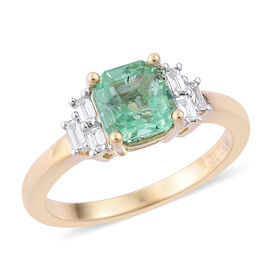 ILIANA 18K Y Gold Boyaca Colombian Emerald (Oct 1.33 Ct), Diamond Ring 1.500 Ct.