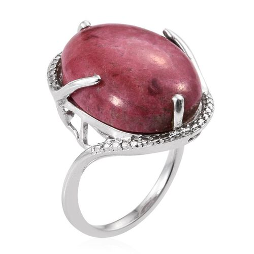 Norwegian Thulite (Ovl) Ring in Platinum Overlay Sterling Silver 20.000 Ct.